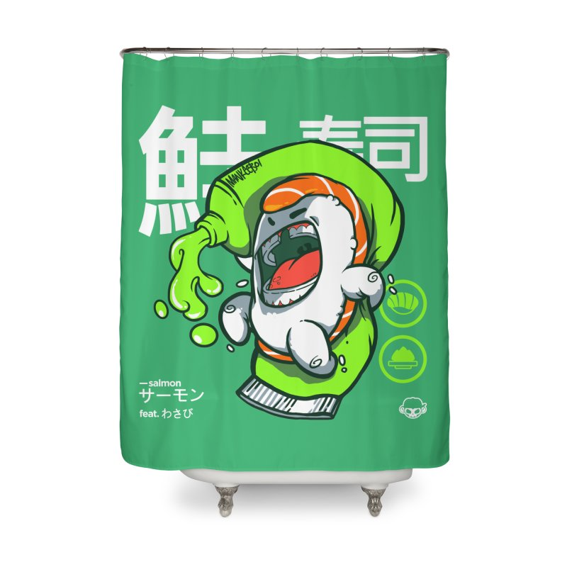 Salmon feat. Wasabi Home Shower Curtain by mankeeboi's Artist Shop