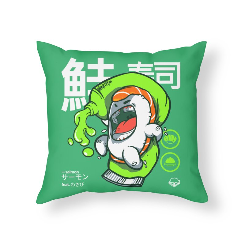 Salmon feat. Wasabi Home Throw Pillow by mankeeboi's Artist Shop