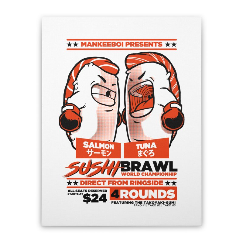 Sushi Brawl Home Stretched Canvas by mankeeboi's Artist Shop