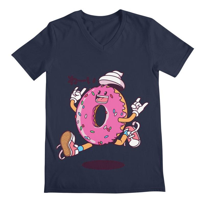 Jumping Donut Men's V-Neck by mankeeboi's Artist Shop