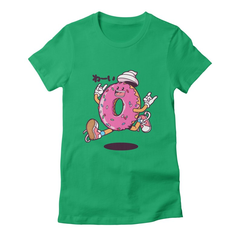 Jumping Donut Women's Fitted T-Shirt by mankeeboi's Artist Shop