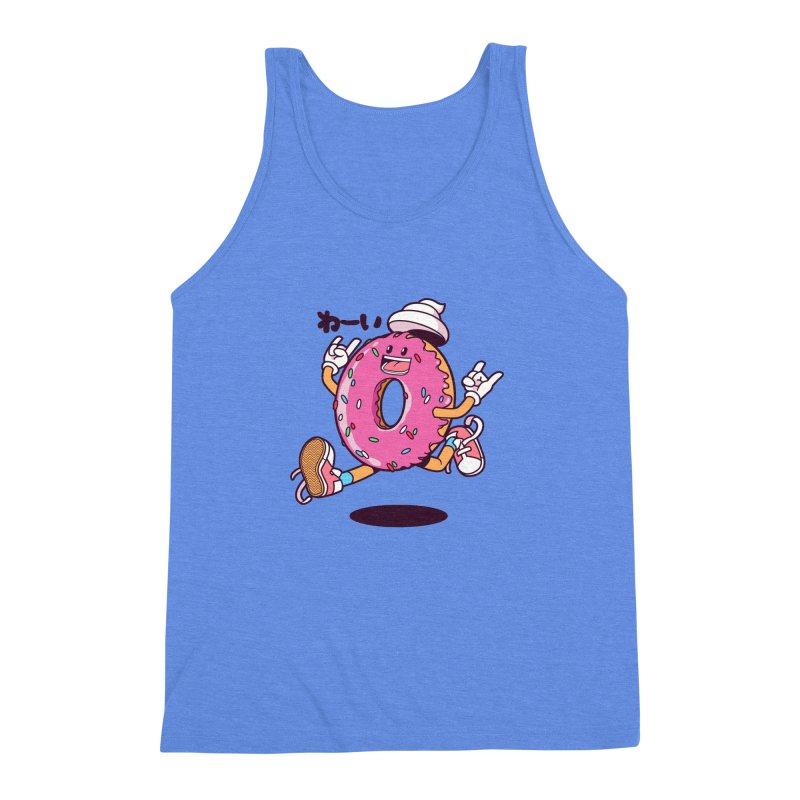 Jumping Donut Men's Triblend Tank by mankeeboi's Artist Shop