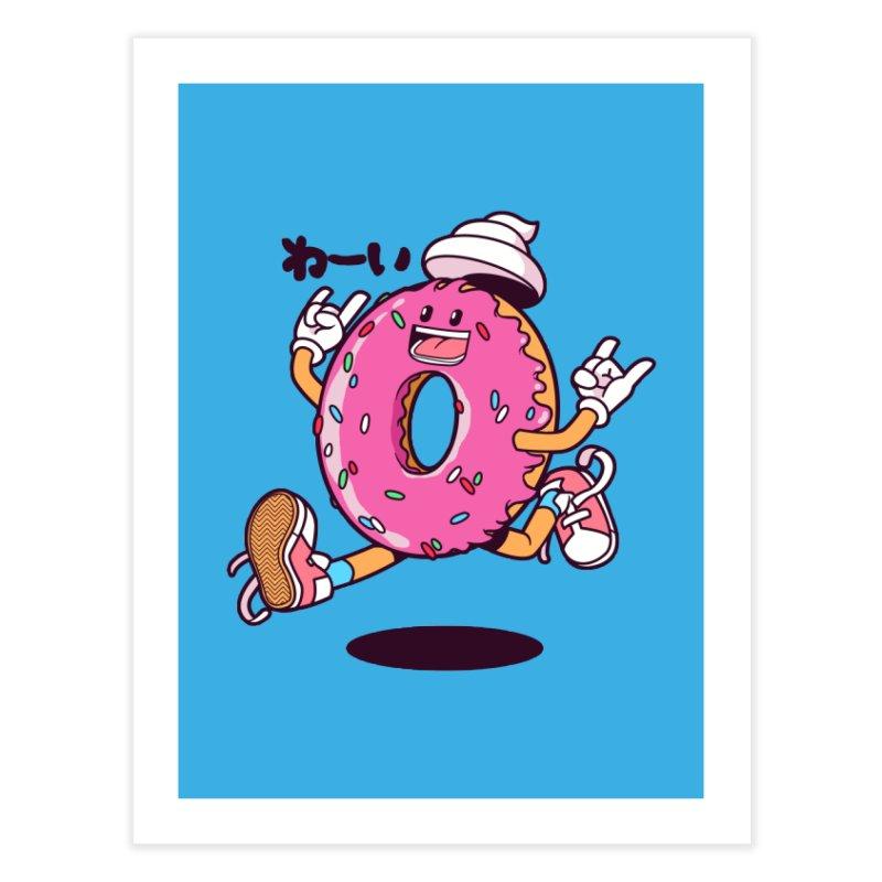 Jumping Donut Home Fine Art Print by mankeeboi's Artist Shop