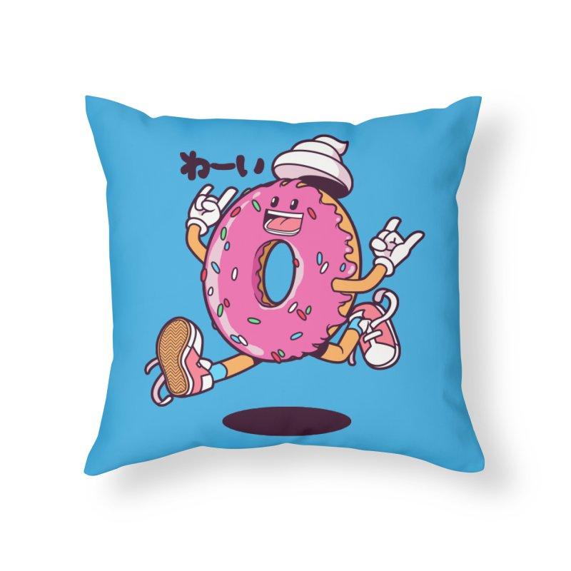 Jumping Donut Home Throw Pillow by mankeeboi's Artist Shop