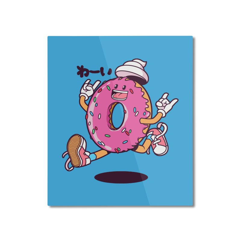 Jumping Donut Home Mounted Aluminum Print by mankeeboi's Artist Shop