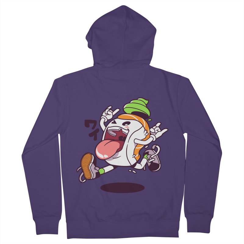 Jumping Salmon Sushi Women's French Terry Zip-Up Hoody by mankeeboi's Artist Shop