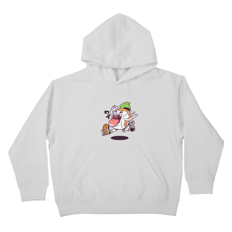 Jumping Salmon Sushi Kids Pullover Hoody by mankeeboi's Artist Shop