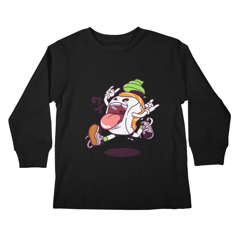 Jumping Salmon Sushi Kids Longsleeve T-Shirt by mankeeboi's Artist Shop
