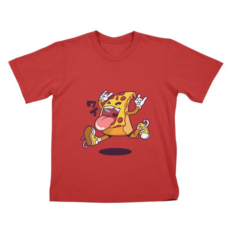 Pizza Jump Kids T-Shirt by mankeeboi's Artist Shop