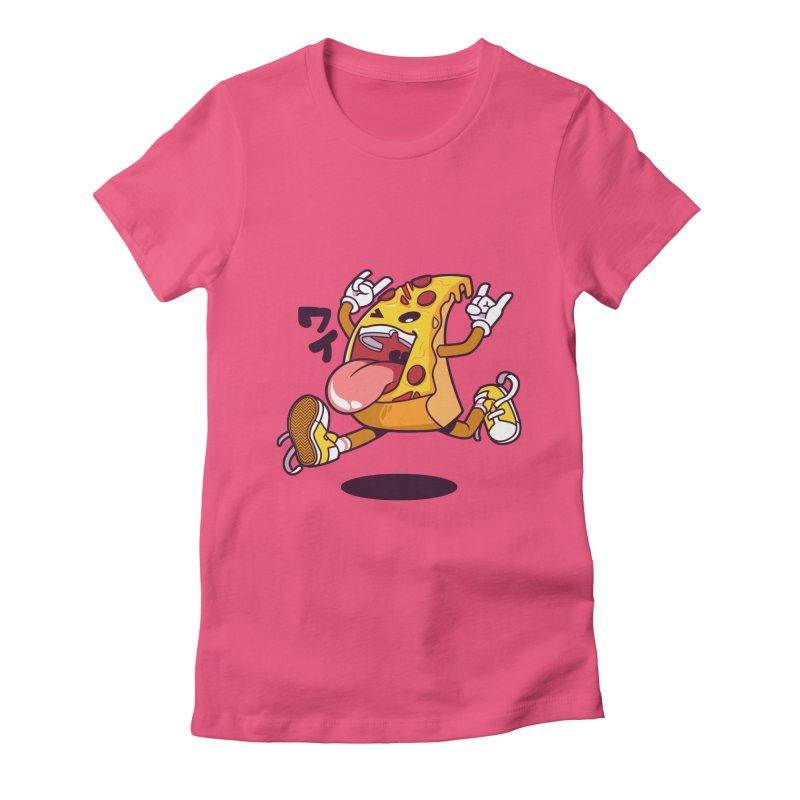 Pizza Jump Women's Fitted T-Shirt by mankeeboi's Artist Shop