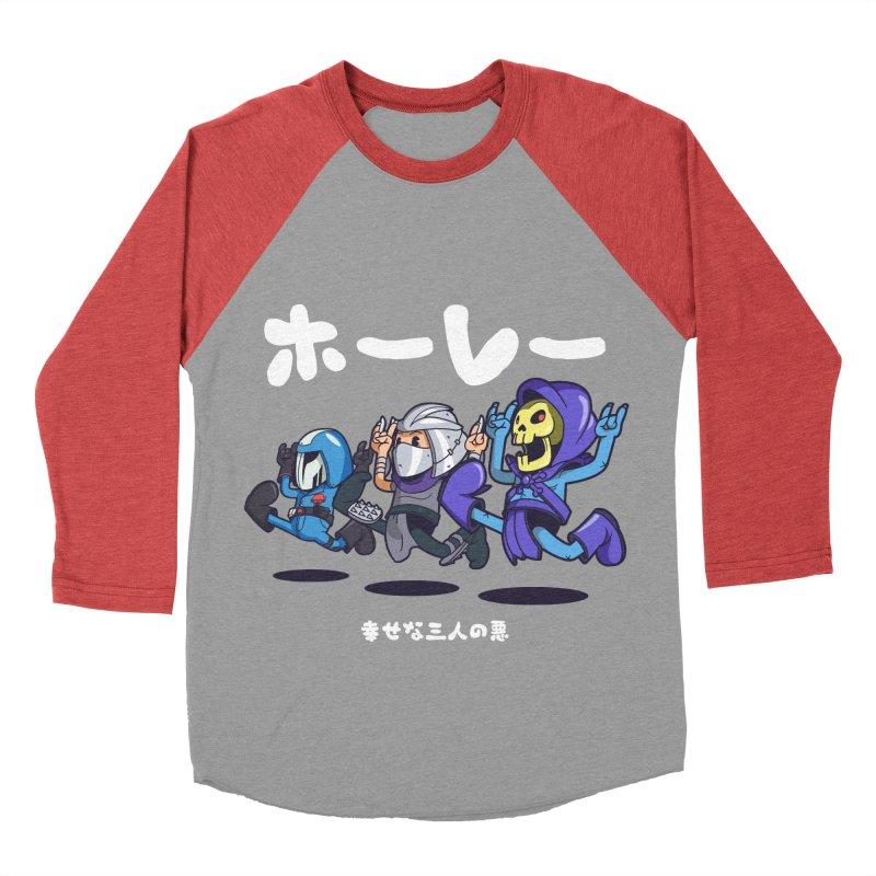 Happy 3 Fiends Men's Baseball Triblend Longsleeve T-Shirt by mankeeboi's Artist Shop