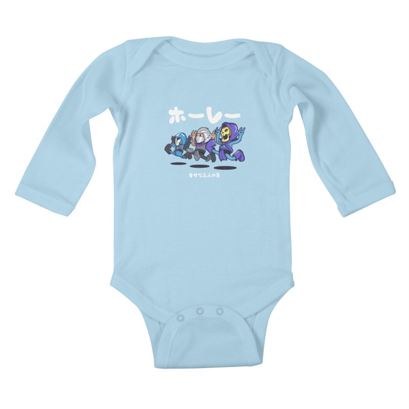 Happy 3 Fiends Kids Baby Longsleeve Bodysuit by mankeeboi's Artist Shop