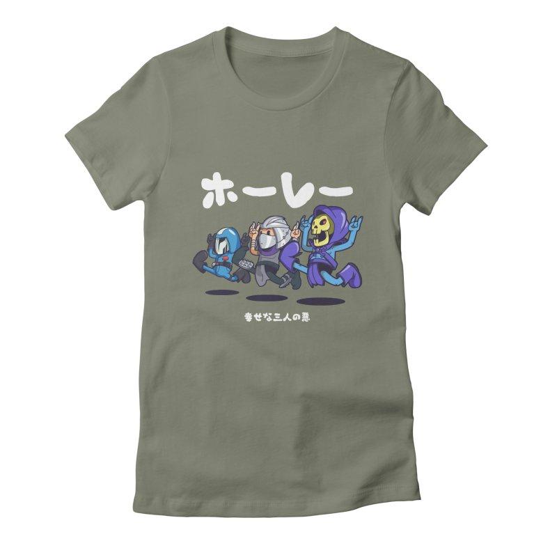 Happy 3 Fiends Women's Fitted T-Shirt by mankeeboi's Artist Shop