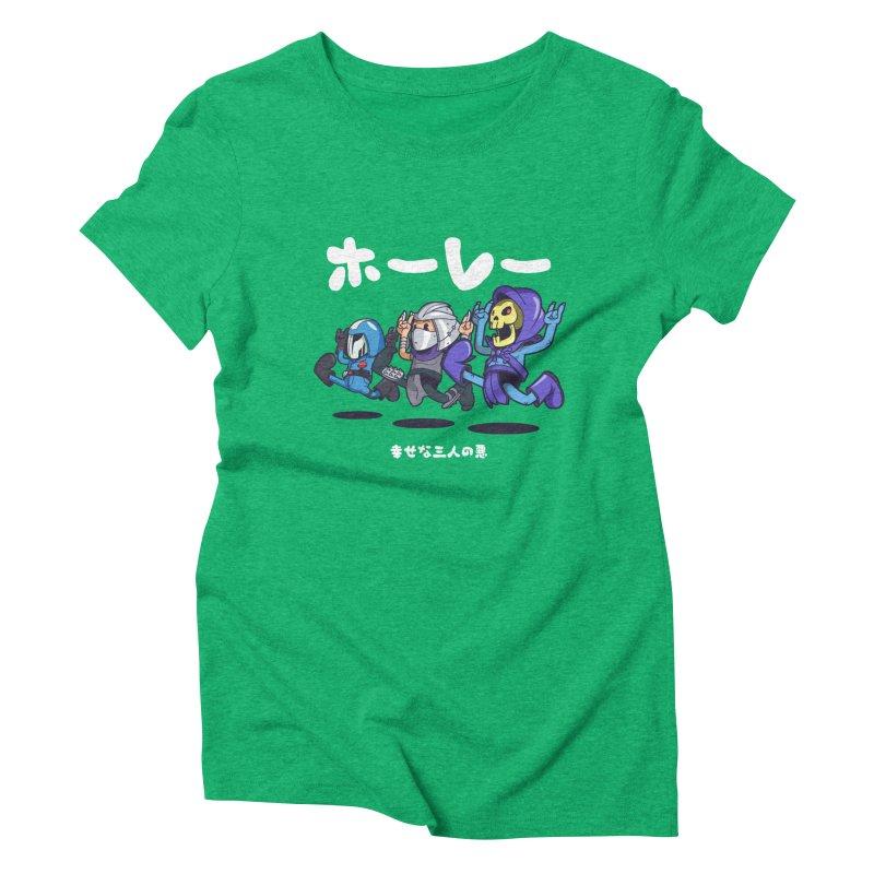Happy 3 Fiends Women's Triblend T-Shirt by mankeeboi's Artist Shop