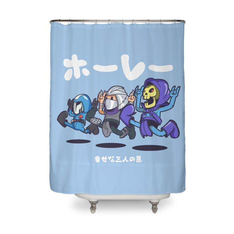 Happy 3 Fiends Home Shower Curtain by mankeeboi's Artist Shop