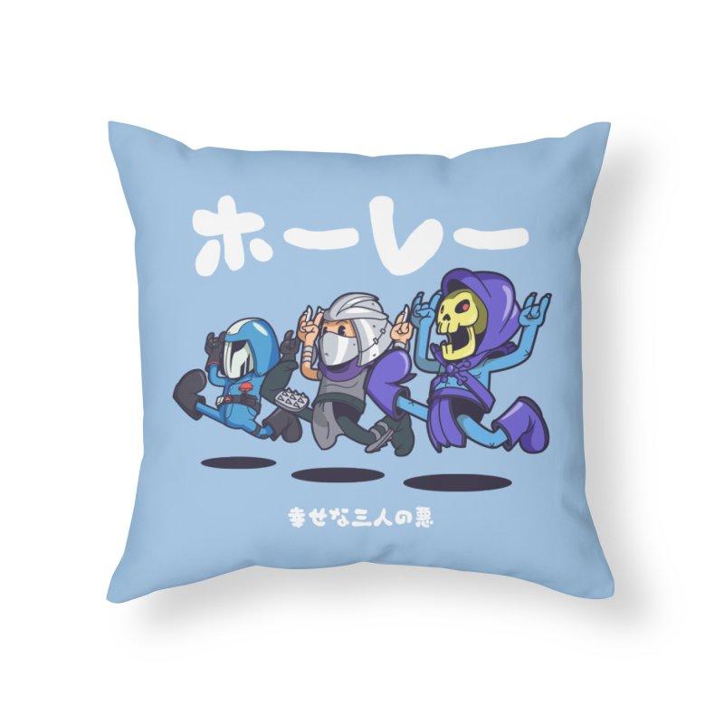 Happy 3 Fiends Home Throw Pillow by mankeeboi's Artist Shop