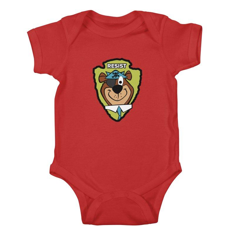 Rogue-E Bear Kids Baby Bodysuit by Manly Art's Tee Shop
