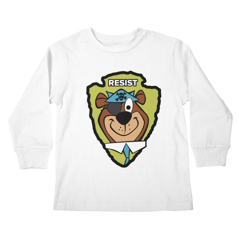 Rogue-E Bear Kids Longsleeve T-Shirt by Manly Art's Tee Shop