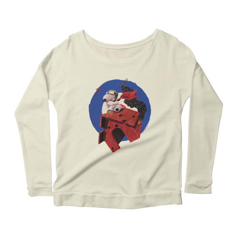Curse You Red Baron! Women's Longsleeve Scoopneck  by Manly Art's Tee Shop