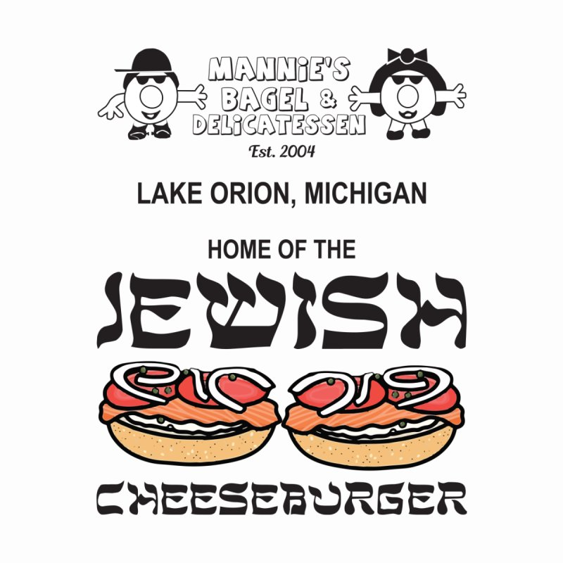 JEWISH CHEESEBURGER Men's T-Shirt by Mannie's Bagel & Delicatessen Merch Shop