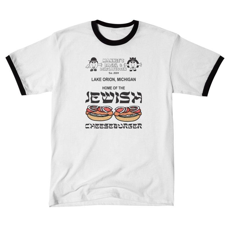 JEWISH CHEESEBURGER Men's T-Shirt by Mannie's Bagel & Delicatessen Merch Shop