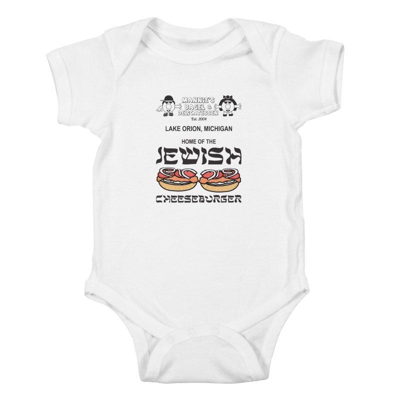 JEWISH CHEESEBURGER Kids Baby Bodysuit by Mannie's Bagel & Delicatessen Merch Shop
