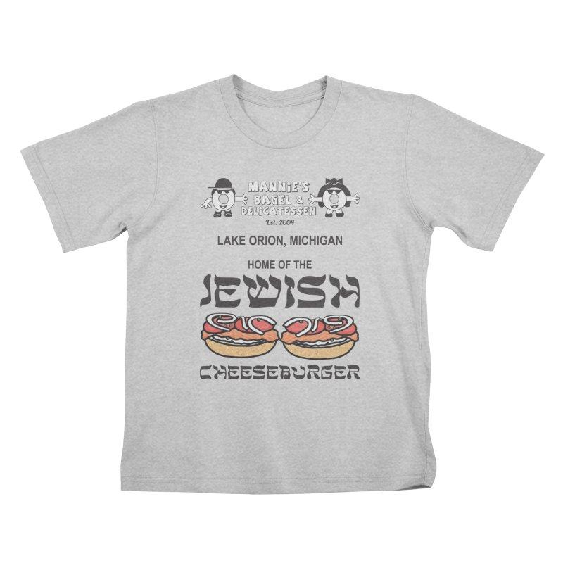 JEWISH CHEESEBURGER Kids T-Shirt by Mannie's Bagel & Delicatessen Merch Shop