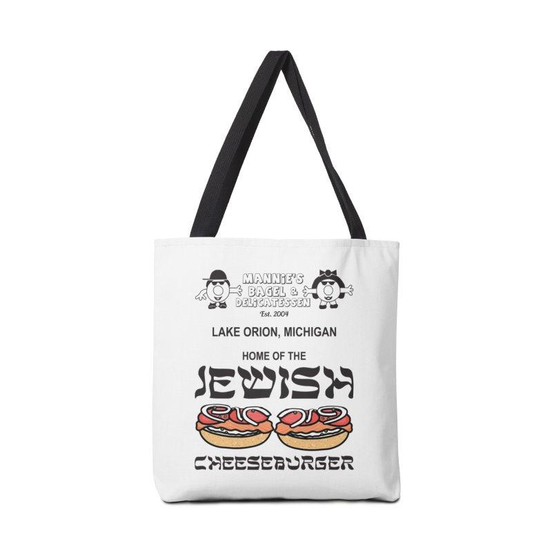 JEWISH CHEESEBURGER Accessories Bag by Mannie's Bagel & Delicatessen Merch Shop