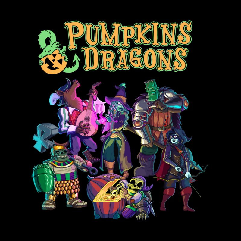 Pumpkins & Dragons adventuring party Women's V-Neck by Manning Krull's Artist Shop