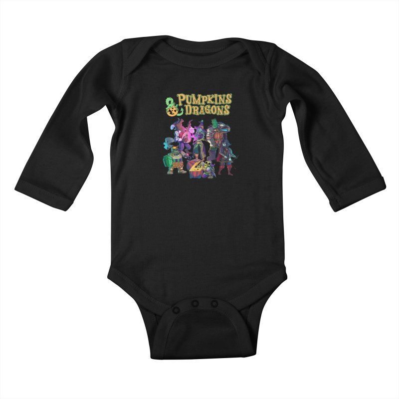 Pumpkins & Dragons adventuring party Kids Baby Longsleeve Bodysuit by Manning Krull's Artist Shop