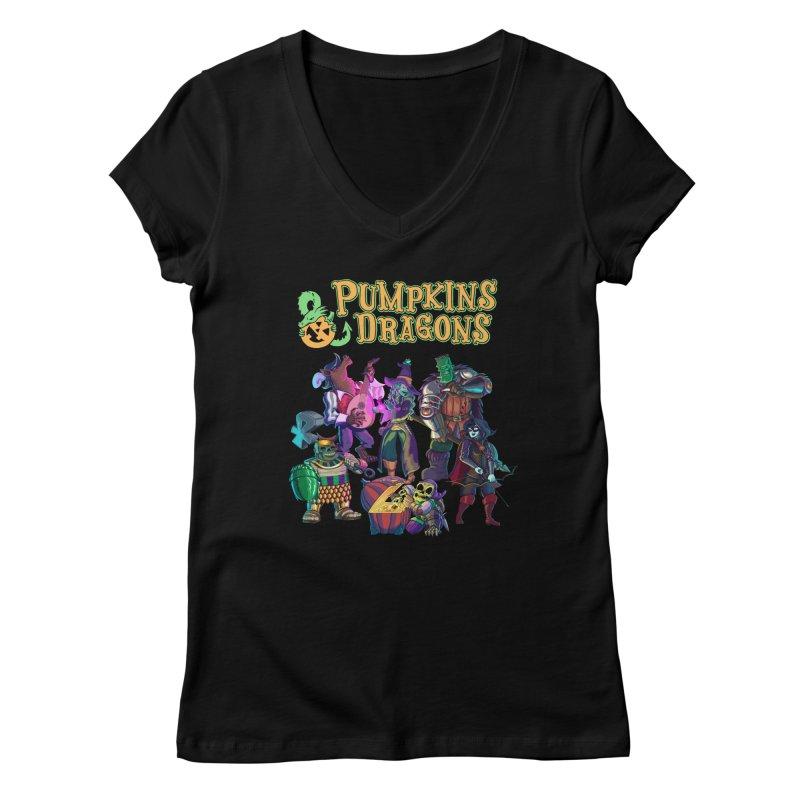 Pumpkins & Dragons adventuring party Women's V-Neck by Manning Krull's Artist Shop