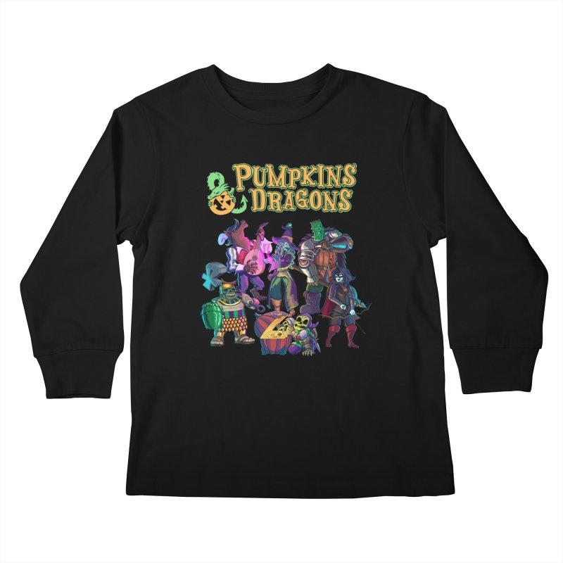 Pumpkins & Dragons adventuring party Kids Longsleeve T-Shirt by Manning Krull's Artist Shop