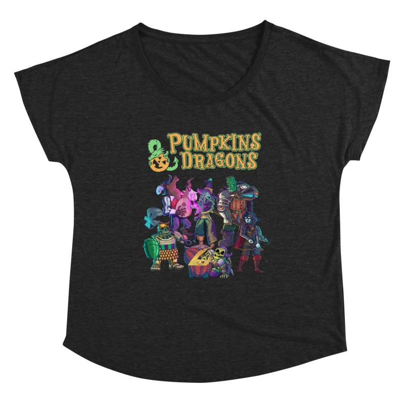 Pumpkins & Dragons adventuring party Women's Scoop Neck by Manning Krull's Artist Shop