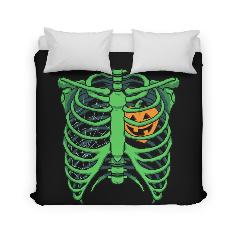 Halloween in my heart - green Home Duvet by Manning Krull's Artist Shop