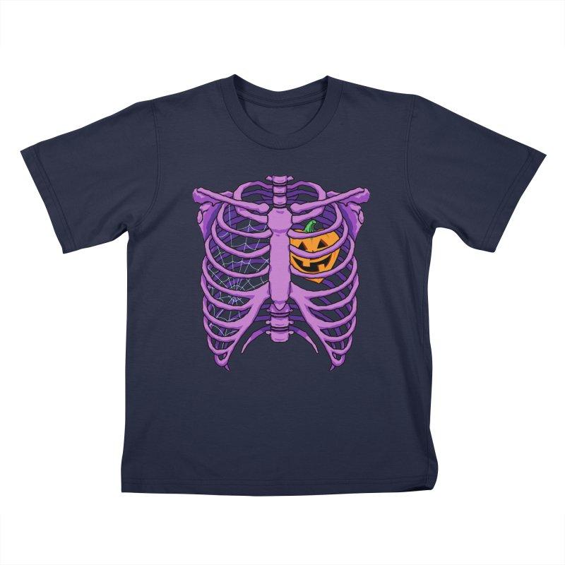 Halloween in my heart - purple Kids T-Shirt by Manning Krull's Artist Shop