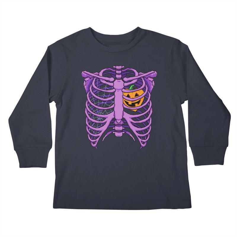 Halloween in my heart - purple Kids Longsleeve T-Shirt by Manning Krull's Artist Shop