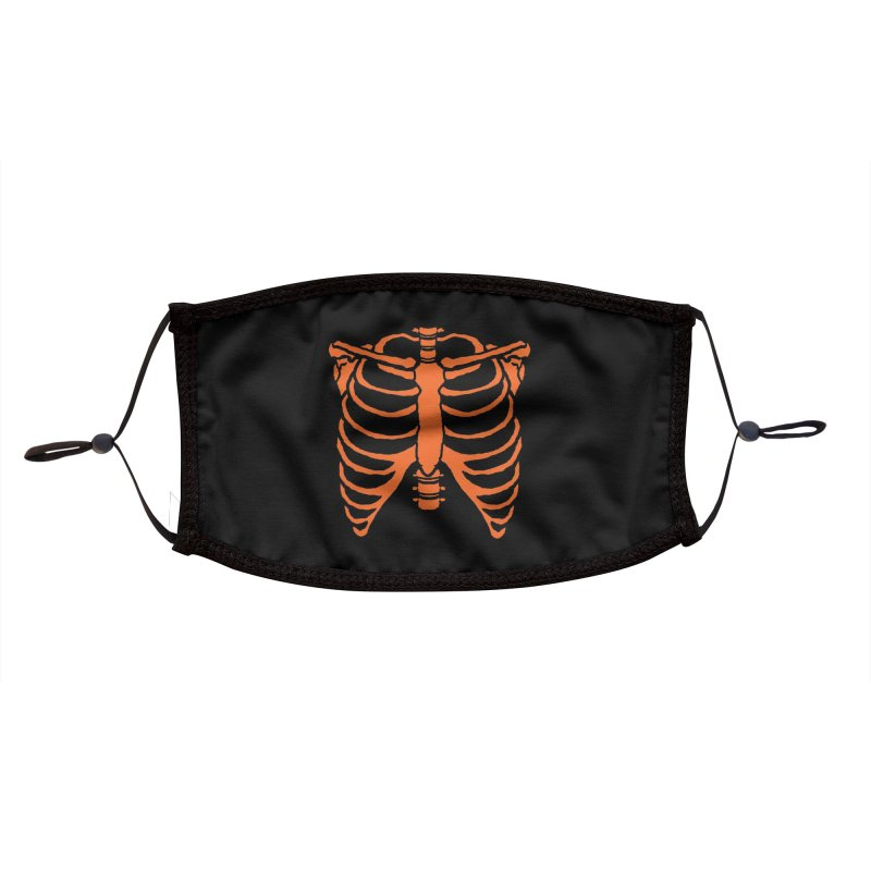 Halloween orange ribcage Accessories Face Mask by Manning Krull's Artist Shop