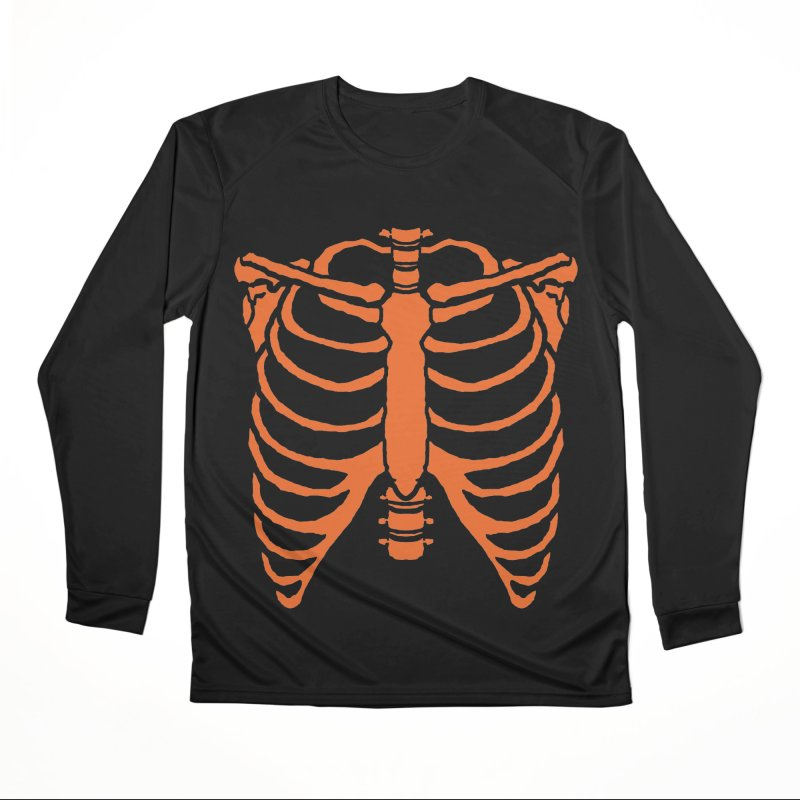 Halloween orange ribcage Men's Longsleeve T-Shirt by Manning Krull's Artist Shop
