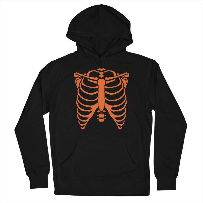 Halloween orange ribcage Women's Pullover Hoody by Manning Krull's Artist Shop