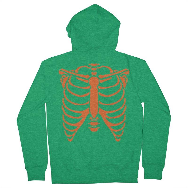 Halloween orange ribcage Men's Zip-Up Hoody by Manning Krull's Artist Shop