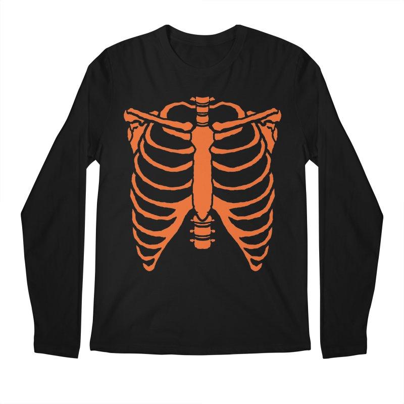 Halloween orange ribcage Men's Longsleeve T-Shirt by Manning Krull's Artist Shop