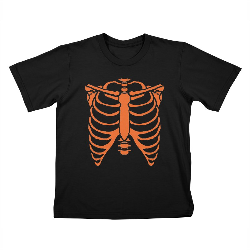 Halloween orange ribcage Kids T-Shirt by Manning Krull's Artist Shop