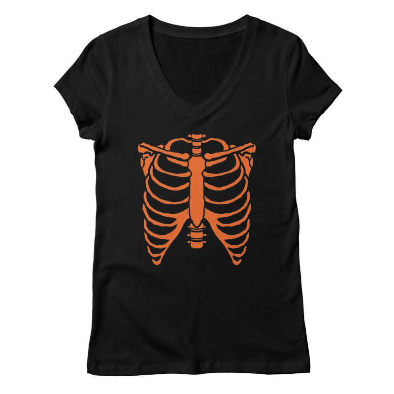 Halloween orange ribcage Women's V-Neck by Manning Krull's Artist Shop