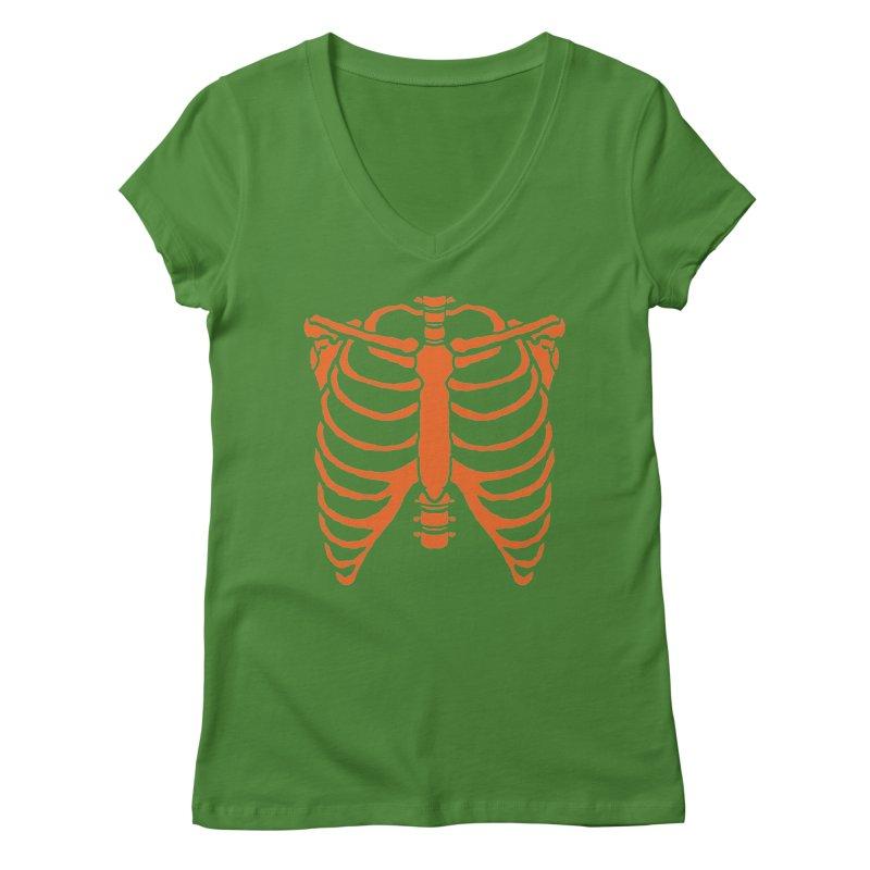 Halloween orange ribcage Women's V-Neck by Manning Krull's Artist Shop