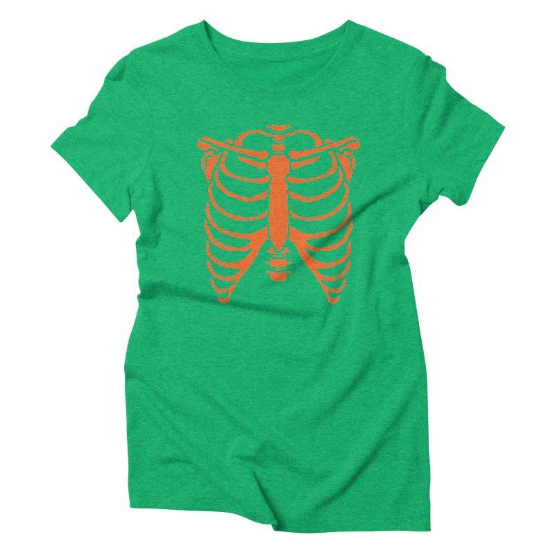 Halloween orange ribcage Women's T-Shirt by Manning Krull's Artist Shop