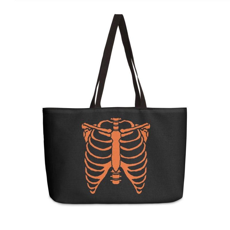 Halloween orange ribcage Accessories Bag by Manning Krull's Artist Shop