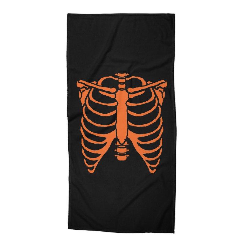 Halloween orange ribcage Accessories Beach Towel by Manning Krull's Artist Shop