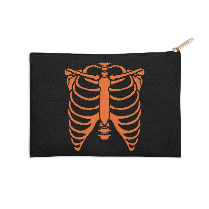 Halloween orange ribcage Accessories Zip Pouch by Manning Krull's Artist Shop