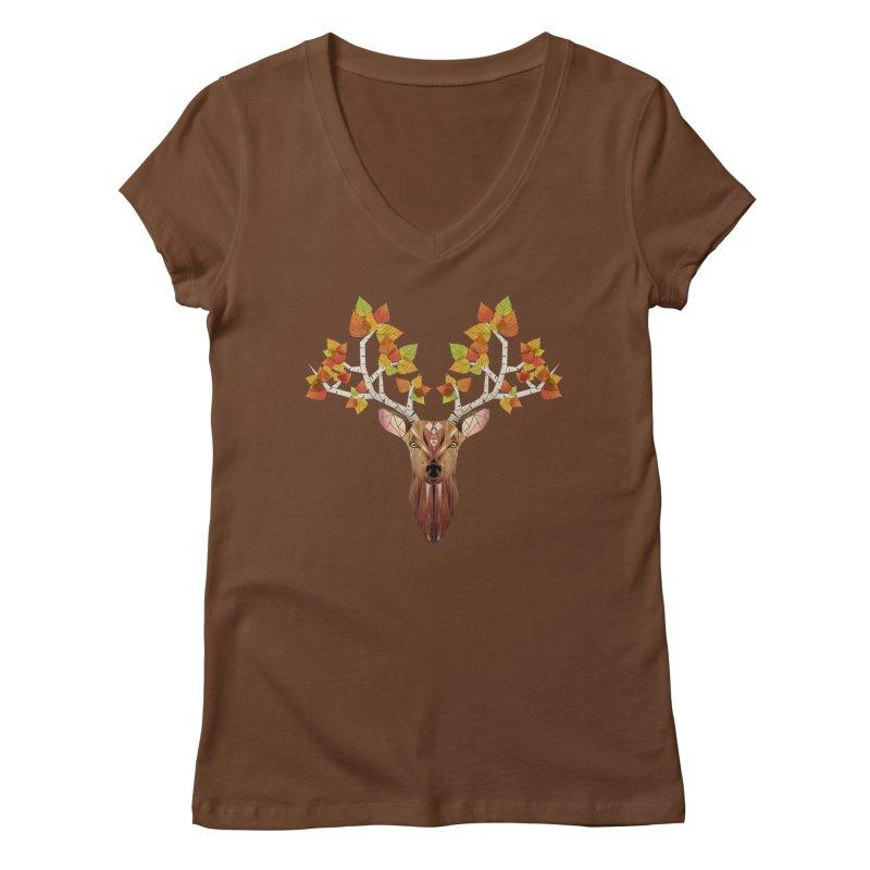deer autumn Women's V-Neck by manoou's Artist Shop
