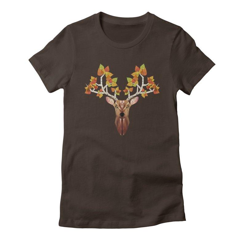 deer autumn Women's Fitted T-Shirt by manoou's Artist Shop